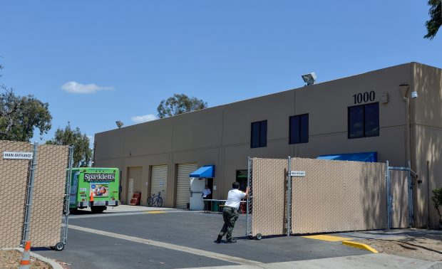 The main entrance of the newly opened Bridges at Kraemer year-round shelter in Anaheim, California, on Monday, June 12, 2017. (Photo by Jeff Gritchen, Orange County Register/SCNG)