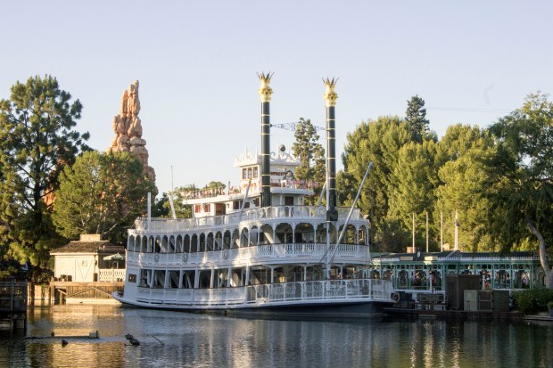"The Mark Twain Riverboat will be plying the Rivers of America with trips on the Rivers of America beginning July 29, and will be in the new version of the river show ""Fantasmic!"" when it returns on July 17. The show was put on hiatus, and the boat sat at the dock for more than a year while crews rerouted the Rivers of America to make room for the now under construction ""Star Wars"" land at Disneyland. (Photo by Mark Eades, Orange County Register/SCNG)"