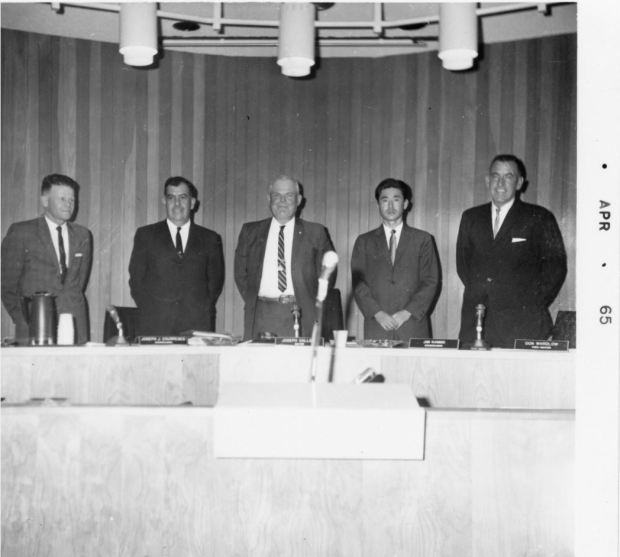 When Fountain Valley incorporated it elected five members to its city council. Among them was James Kanno, second from right, at time widely reported as the country's first Japanese American mayor. Other members from an early council, left to right, Henry Boer, Joseph Courreges, Joseph Callansa and Robert Wardlow. COURTESY FOUNTAIN VALLEY HISTORICAL SOCIETY