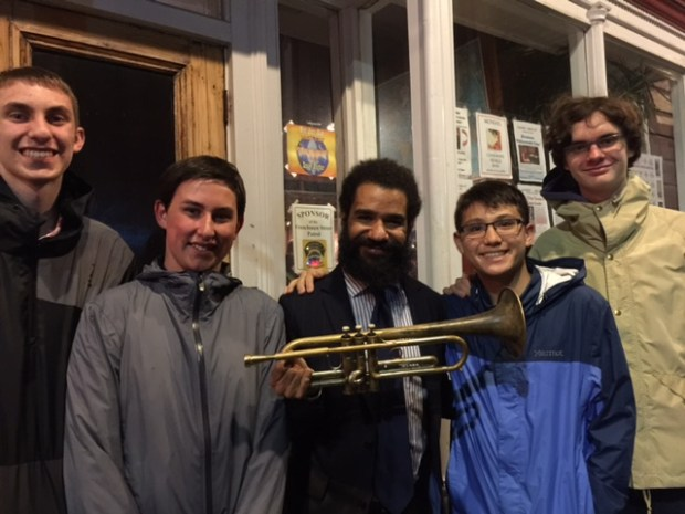 Ellis Marsalis Quintet trumpet player Aslin Parker, center, with Max Gotz, left, Remy Gilboe, Kenji Ito and Liam Cavanaugh in New Orleans. (Photo courtesy of Sandy Gilboe)