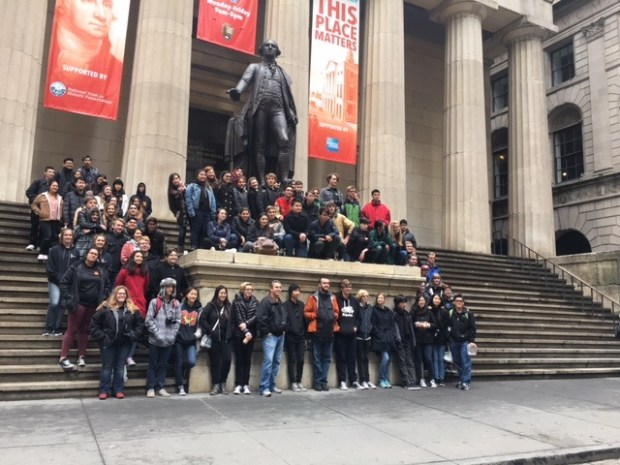 Students take a tour of lower Manhatten during a trip to New York in March 2017. (Photo courtesy of Mission Viejo High School)