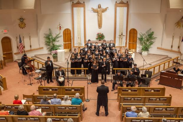 Members of the Crean Lutheran High choir and orchestra perform during a trip to Phoenix in May 2017. (Photo courtesy of Scott Tokar)