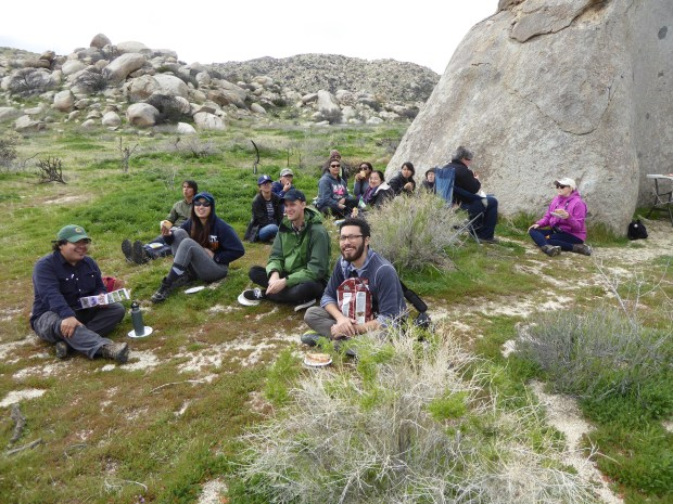 The applied ornithology class takes a break at Anzo-Borrego Desert State Park, one of several field trips the class took this spring to observe birds. (Photo courtesy of Bill Hoese)