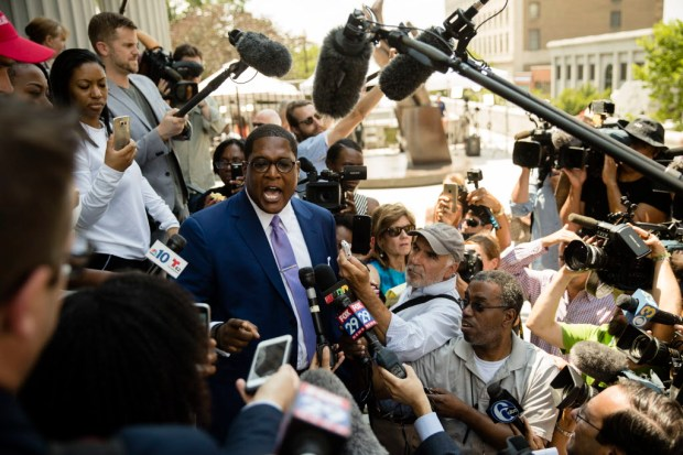 Bill Cosby's spokesman Andrew Wyatt speaks with members of the media during Cosby's sexual assault trial at the Montgomery County Courthouse in Norristown, Pa., Monday, June 12, 2017. (AP Photo/Matt Rourke)