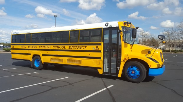 This A type C electric school bus like this Lion bus, is eligible for air district allocations.Photo is courtesy of First Priority GreenFleet