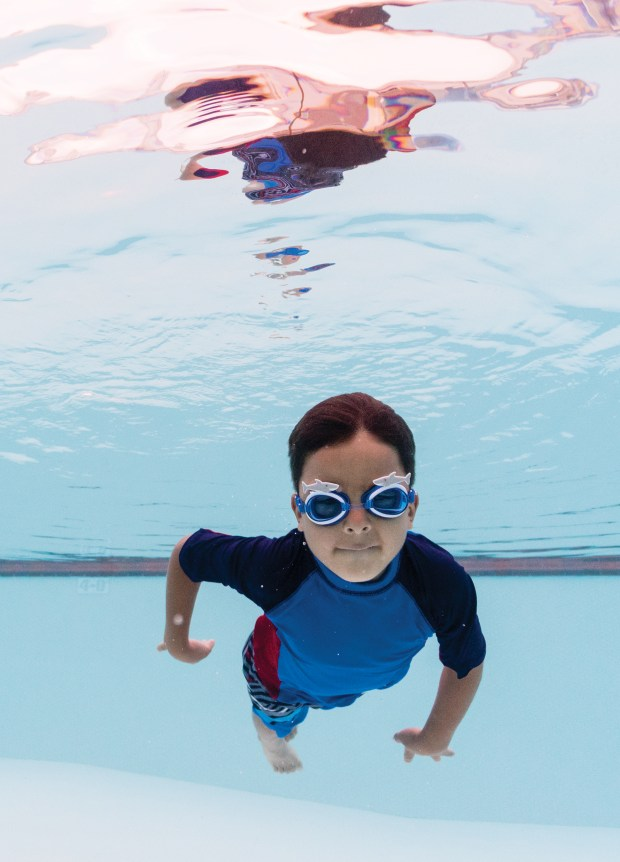 Connor Puebla, 6, of Rancho Santa Margarita swims in the pool at the Montage Laguna Beach on on Monday, May 15, 2017. (Photo by Raymona Chin, contributing photographer)