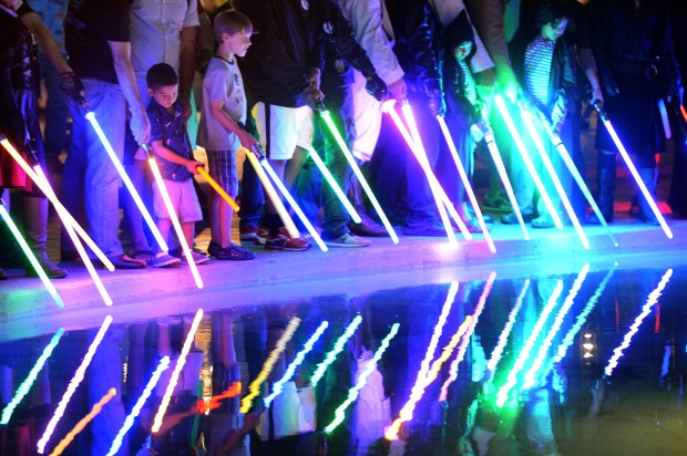Star Wars fans hold lightsaber battles at Balboa Park during Comic-Con weekend in San Diego, CA., Saturday, July 23, 2016. (Staff photo by Jennifer Cappuccio Maher/Southern California News Group)