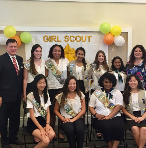 Girl Scouts Gold Award pins were presented to 10 Irvine Girl Scouts at a special ceremony held June 17 at the Woodbury Community Center the highest achievement. The Gold Award is the highest achievement available to Girl Scouts. (Lou Ponsi, for the Register)