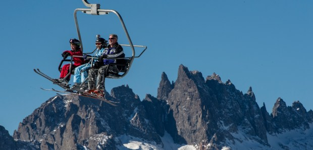 The Minarets in the Ansel Adams Wilderness are a prominent feature as skiers ride a lift at the Mammoth Mountain ski area in Mammoth Lakes.Mark Rightmire, ORANGE COUNTY REGISTER mammoth.011214 12/20/13