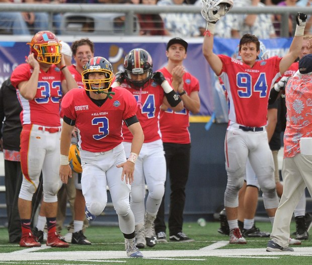 The South All-Stars celebrate their second touchdown.The Orange County All-Star Classic high school football playing was played at Orange Coast College in Costa Mesa, CA on Friday, June 30, 2017. (Photo by Bill Alkofer,Orange County Register/SCNG)