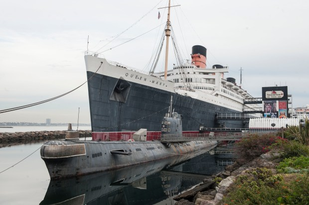 """The Queen Mary in Long Beach is docked alongside the Russian submarine """"Scorpion"""". The ship was photographed on October 27, 2016, (Photo by Ana Venegas, Orange County Register/SCNG)"""