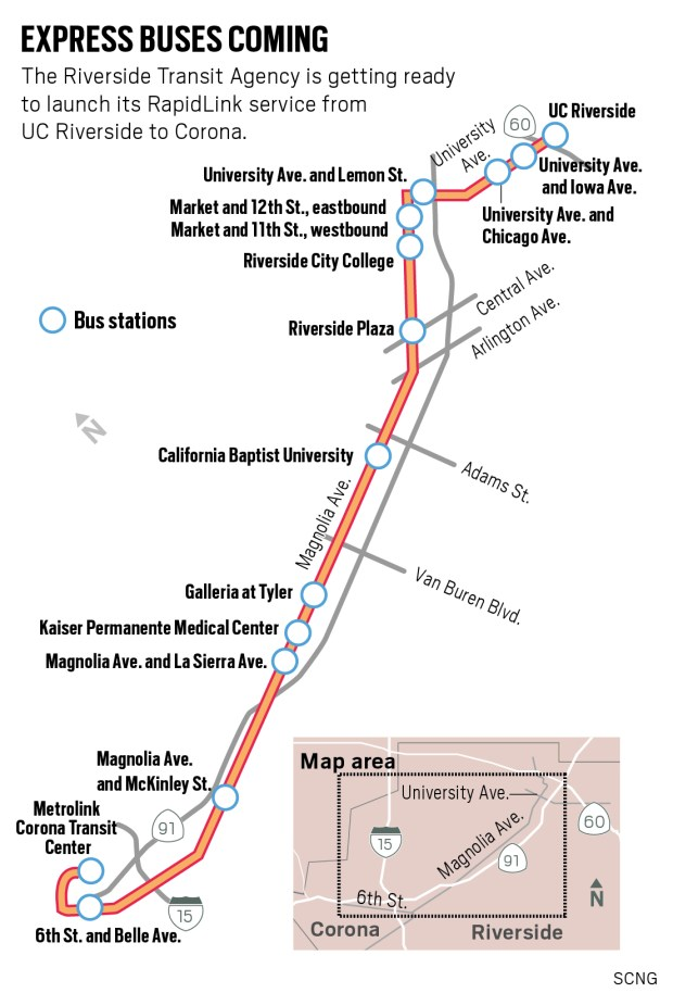 The Riverside Transit Agency is set to launch its RapidLink express bus service from Riverside to Corona. (SCNG)