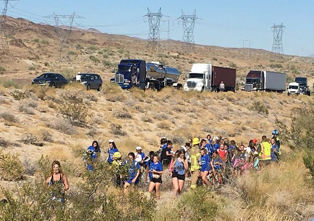 Thirty students were evacuated Wednesday, June 28, following a fiery crash that involved a big rig and bus on the 10 Freeway east of Indio. (Photo courtesy of KMIR)