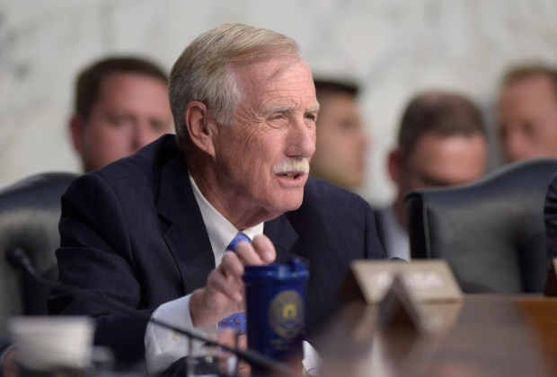 Sen. Angus King, I-Maine, asks a question during a Senate Intelligence Committee hearing about the Foreign Intelligence Surveillance Act, on Capitol Hill in Washington, Wednesday, June 7, 2017. (AP Photo/Susan Walsh) ORG XMIT: DCSW114