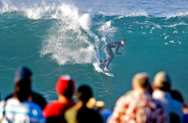 Plenty of surfers and spectators were on hand for big waves at the Wedge in Newport Beach during a hurricane swell in 2014. (File photo)