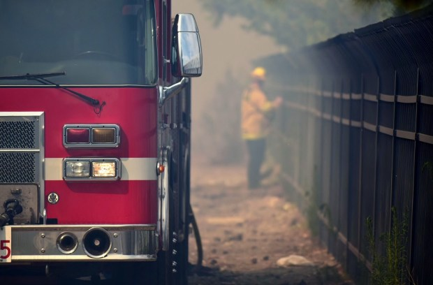 A homeless encampment was at the center of a fire in a San Bernardino wash Friday.