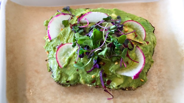 The avocado toast at Juice Served Here is topped with radishes, olive oil, lemon juice, chili flakes and sprouts. (Photo by Brad A. Johnson, Orange County Register/SCNG)