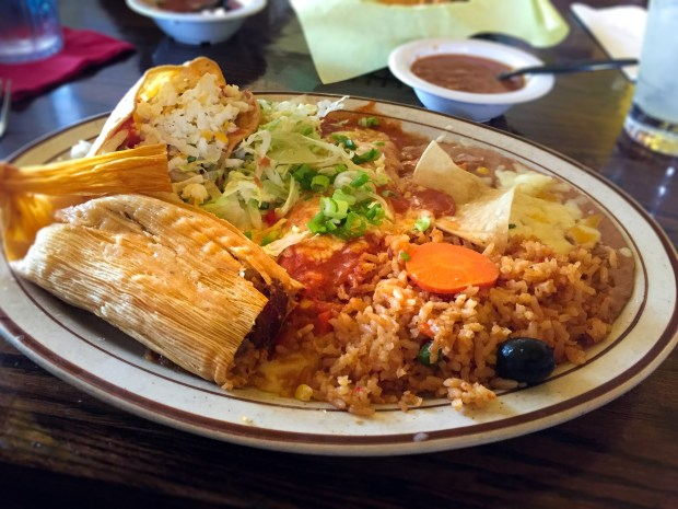 Red chile tamales are made inhouse at La Siesta in San Clemente. (Photo by Brad A. Johnson, Orange County Register/SCNG)