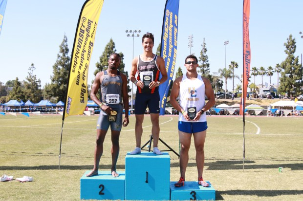 Diego Courbis won the Big West Championship in the 400-meter hurdles in 2017, helping the Titans to their first-ever outdoor track and field conference crown (Photo courtesy of Michael Munoz/Big West Conference).