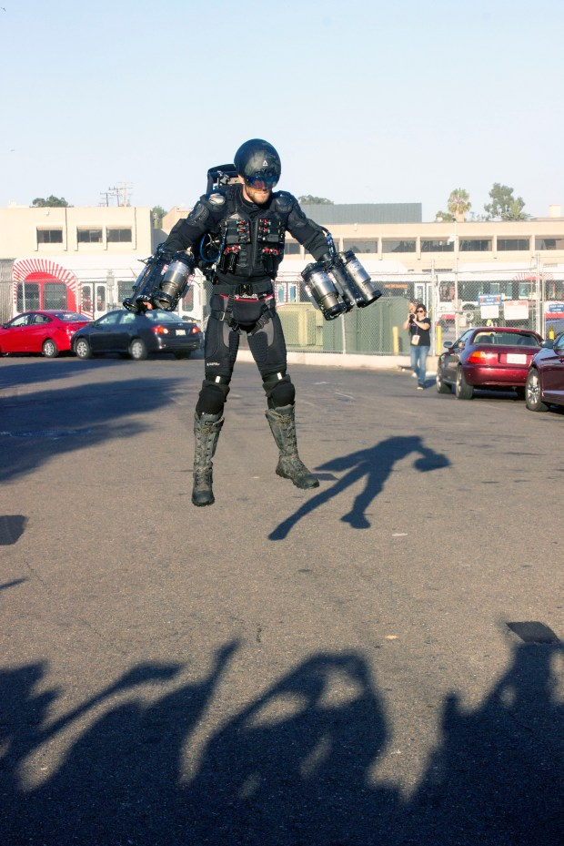 Richard Browning, founder of Gravity Industries, is able to hover above the ground, thanks to six jet turbines, two on each arm and a pair on his back, in his suit that allows him to fly like Marvel's Ironman at the 2017 San Diego Comic-Con. (Photo by Mark Eades, Orange County Register/SCNG)