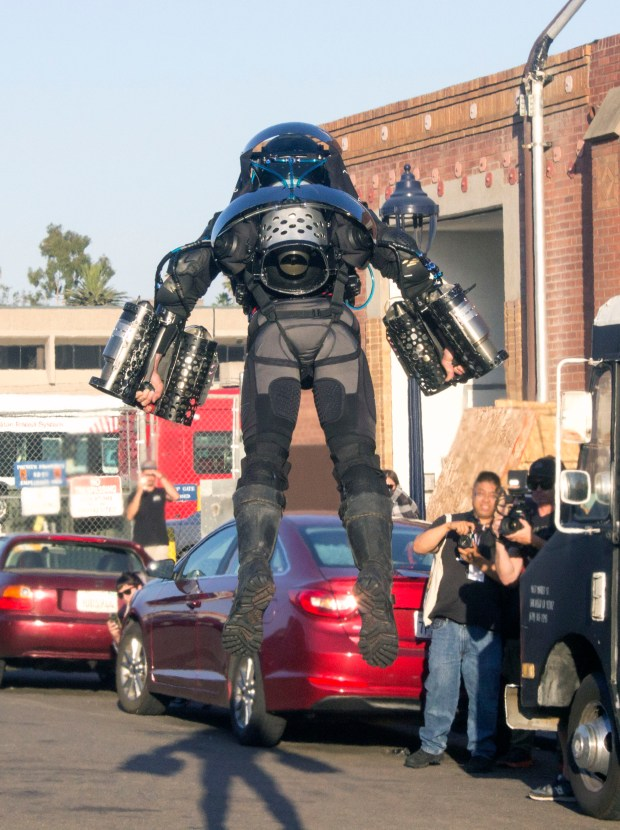 Richard Browning, founder of Gravity Industries, looks like some kind of spaceman in his suit that allows him to fly like Marvel's Ironman at the 2017 San Diego Comic-Con. (Photo by Mark Eades, Orange County Register/SCNG)