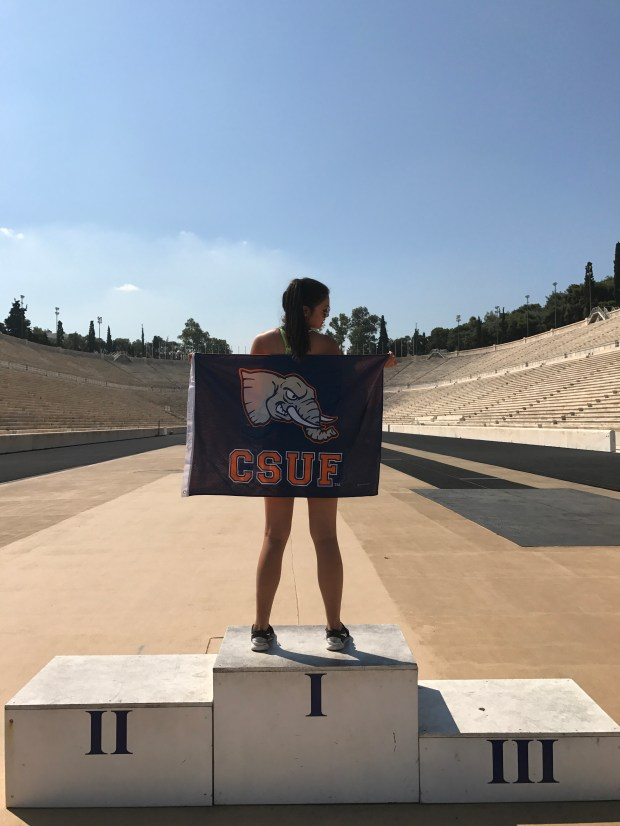 """Thank you, Greece,"" posted Cal State Fullerton student Julyana Amante, in Greek, on Instagram with her picture of the first Olympic stadium, which was also the site of the 2004 Olympic Games. (Photo courtesy of Julyana Amante)"