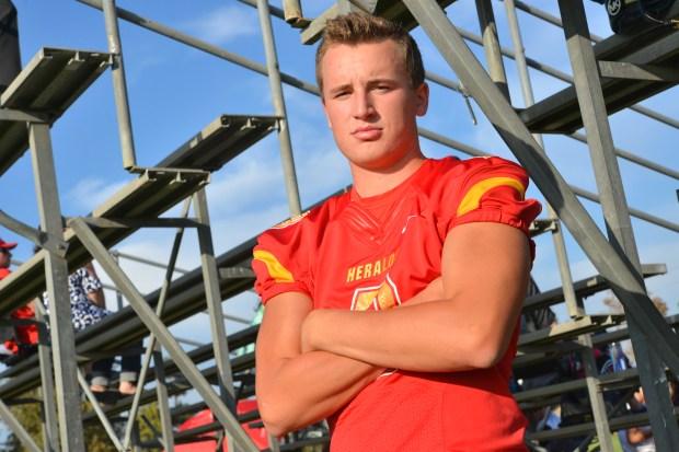Whittier Christian quarterback Quinn Commans. (Photo by Brian Whitehead, Staff)