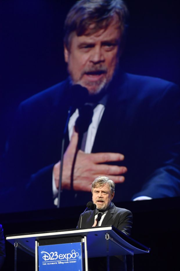 Mark Hamill talks about Carrie Fisher as he accepts his Disney legends award at the D23 Expo in Anaheim, July 14, 2017. (Photo by Jeff Gritchen | SCNG)