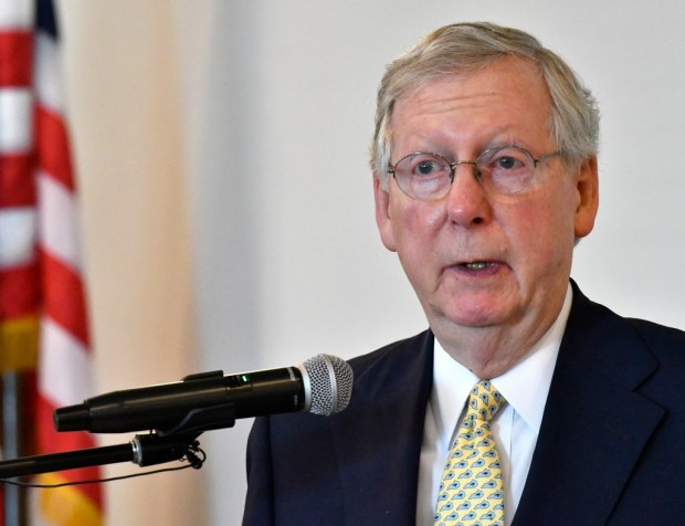 In this June 30, 2017 file photo, Senate Majority Leader Mitch McConnell, of Kentucky, speaks in Elizabethtown, Ky. (AP Photo/Timothy D. Easley, File)