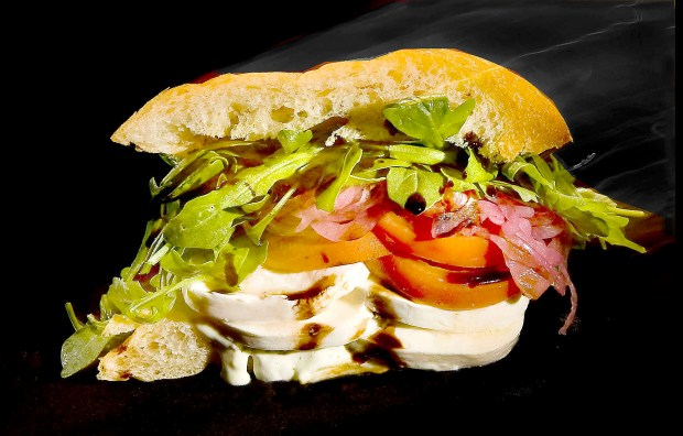 The Zephyr is the Sandwich of the Year from Sessions and features mozzarella cheese, tomatoes, onions, and arugula.