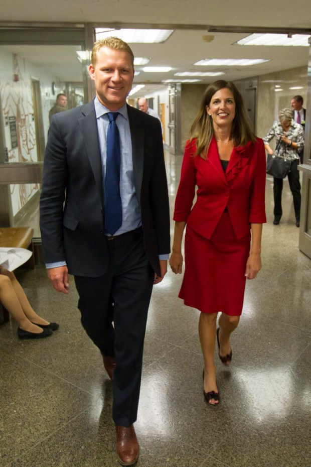 Assemblyman Chad Mayes, R-Yucca Valley, walks with then-Assembly GOP Leader Kristin Olsen in this 2015 file photo.