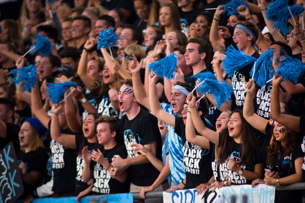 Villa Park fans cheer for their team during a non-league game against Servite Friday night.????///ADDITIONAL INFORMATION: 9/16/16 - FOSTER SNELL, ORANGE COUNTY REGISTER - hsarritt.0917 Ð HS football game: Villa Park vs. Servite in a nonleague football game at El Modena High.