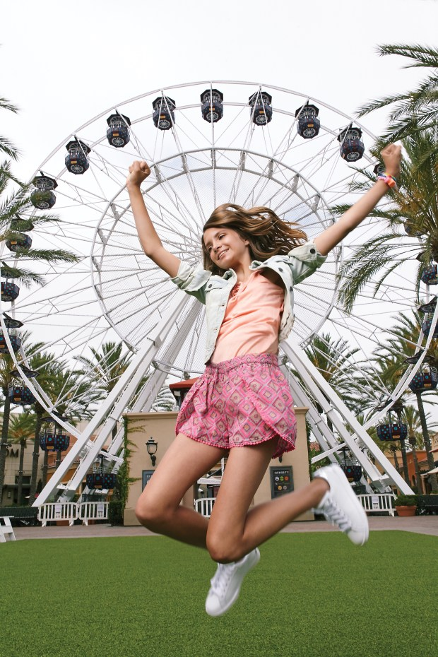 Eva Stone, 11, of Ladera Ranch floats in comfortable pairing of Ikat shorts and denim at Irvine Spectrum on June 22, 2017. (Photo by Ralph Palumbo, contributing photographer)