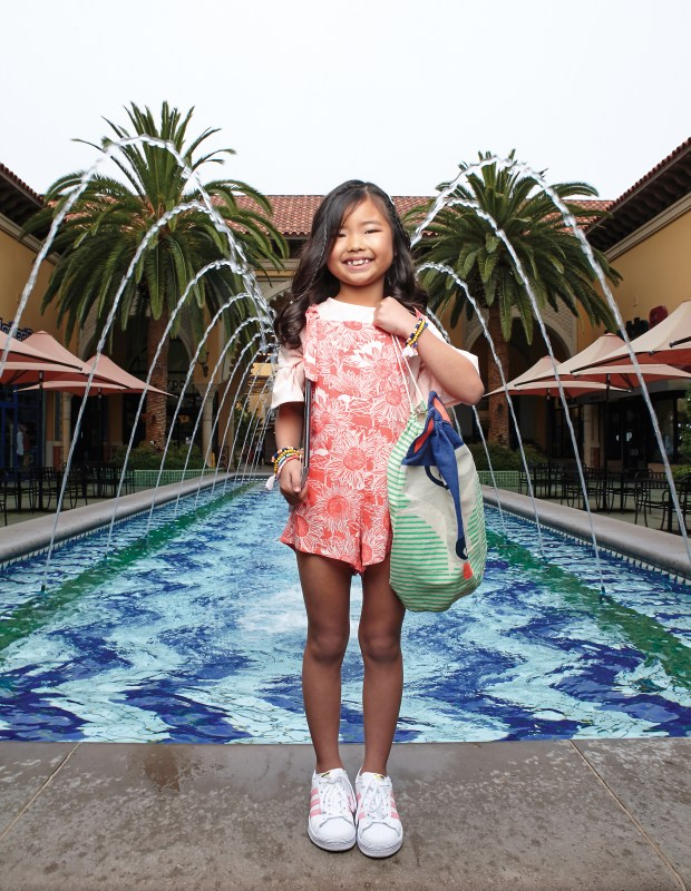 Alice Furuyama, 8, of Mission Viejo is all style in her flutter-sleeve top and tropical romper at Irvine Spectrum on June 22, 2017. (Photo by Ralph Palumbo, contributing photographer)