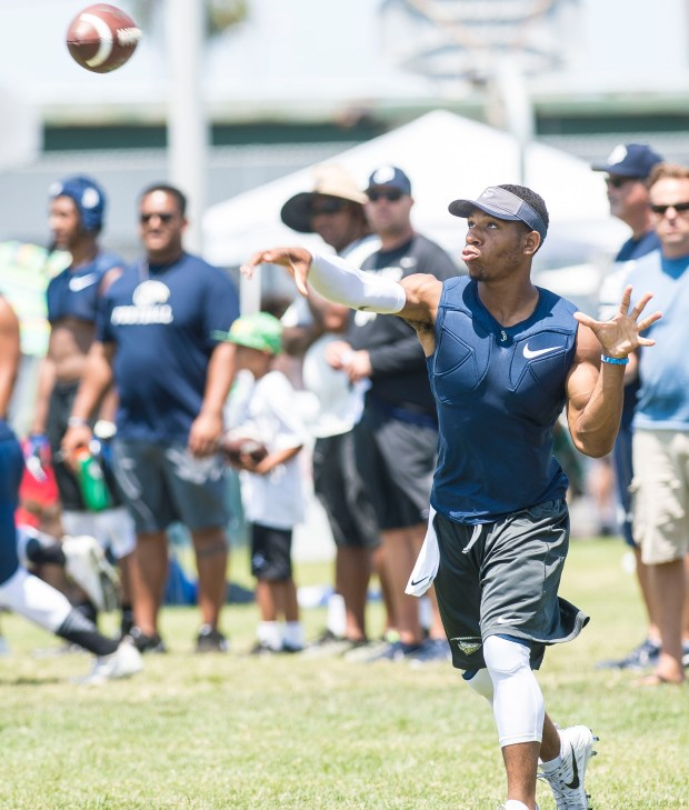 St. John Bosco quarterback Re-Al Mitchell throws during the Battle at the Beach seven on seven football tournament at Edison High School in Huntington Beach on Saturday, July 8, 2017. (Photo by Matt Masin, Orange County Register, SCNG)