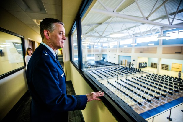 March Air Reserve Base commander Brig. Gen. Russell Muncy looks over the troops holding area during a tour of the new passenger terminal at March Air Reserve Base on Friday, June 2, 2017. The new terminal will accommodate more deploying troops more comfortably. (Photo by Watchara Phomicinda, The Press-Enterprise/SCNG)