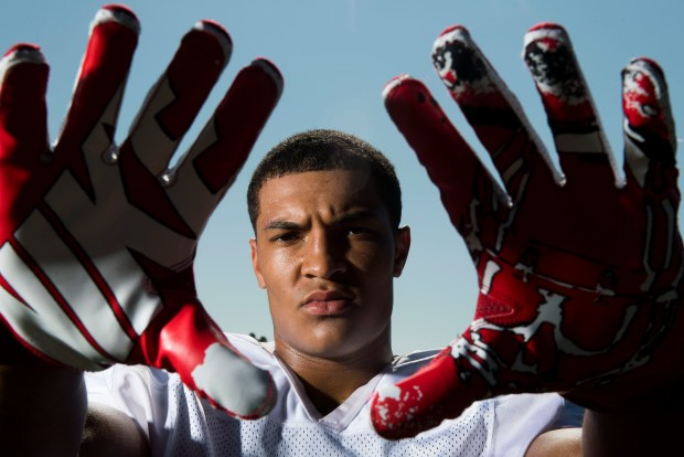 Mater Dei's Bru McCoy, one of the many weapons that helps make Mater Dei football the No. 1 team in the O.C. Preseason Top 25 football rankings. Photographed in Santa Ana, CA on Friday, August 11, 2017. (Photo by Kevin Sullivan, Orange County Register/SCNG)