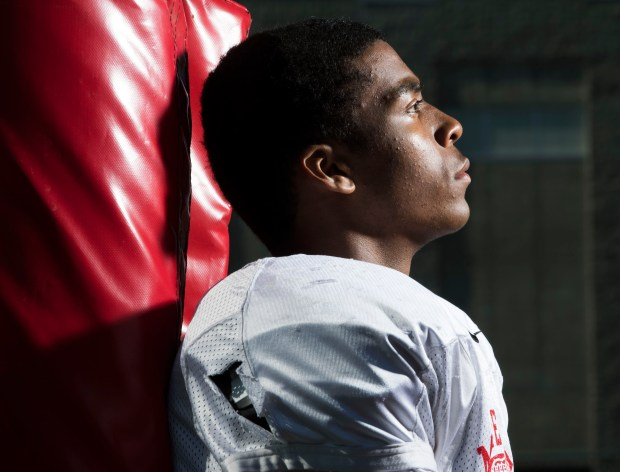 Mater Dei wide receiver CJ Parks, one of the many weapons that helps make Mater Dei football the No. 1 team in the O.C. Preseason Top 25 football rankings. Photographed in Santa Ana, CA on Friday, August 11, 2017. (Photo by Kevin Sullivan, Orange County Register/SCNG)