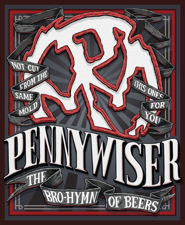 "Southern California punk rock band, Pennywise, has partnered with Lost Coast Brewery for the release of a Pennywiser Session IPA, which will be available as a limited release in Southern California starting in late August. The graphics on the label feature the band's signature logo, as well as slogans that are nods to lyrics from songs like ""Same Old Story"" and ""Bro Hymn."" (Artwork courtesy of Pennywise and Lost Coast Brewery)"