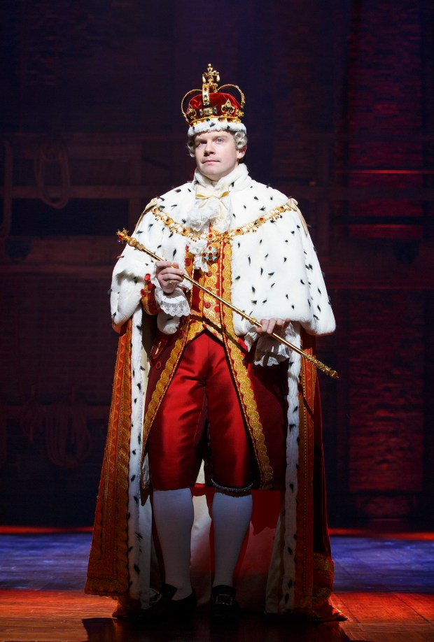 """Rory O'Malley play's England's King George in """"Hamilton"""" at the Pantages Theatre. (Photo by Joan Marcus)"""