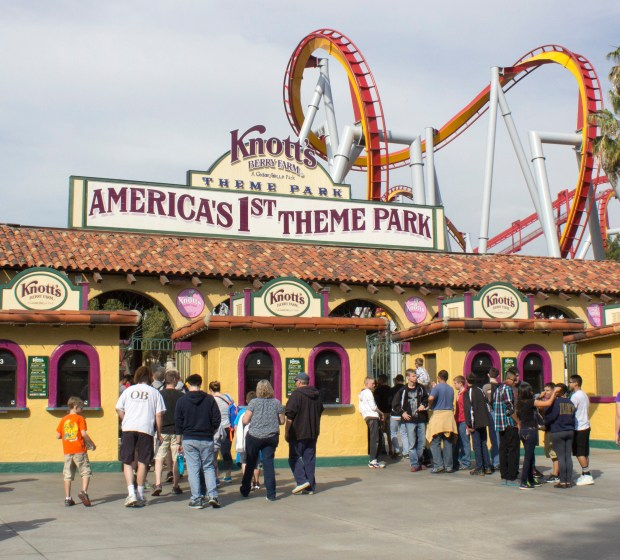 """The entrance to America's 1st Theme Park, Knott's Berry Farm. In the distance appearing above the entrance is Silver Bullet, a roller coaster featuring several """"upside-down"""" moments. (File photo by Mark Eades, Orange County Register/SCNG)"""