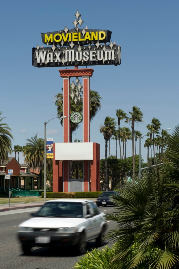 Buena Park leaders are considering the removal of the iconic Movieland Wax Museum Sign. (Joshua Sudock, Orange County Register/SCNG file)