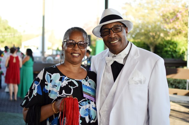 Kim Sanders joined Roscoe Lee Owens in supporting the recent Casa Colina Hospital and Centers for Health Care fundraiser to help its Children's Services Center. (Courtesy photo by Cameron Cheung)