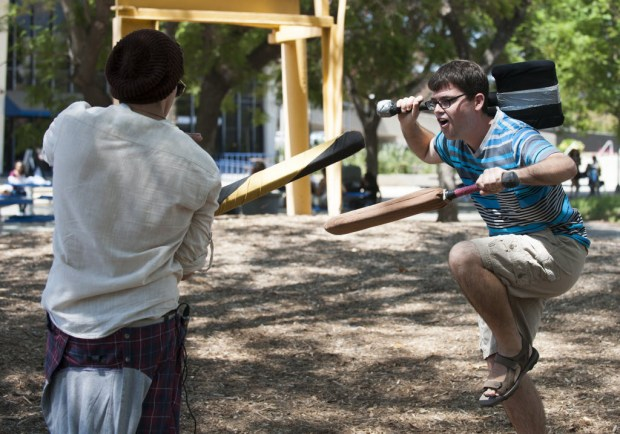 Nick Stull, right, squares off against Nick Aragon to demonstrate the Fullerton Foam Fighters Club during Cal State Fullerton's Discoverfest in August 2016. (Photo by Sam Gangwer, Orange County Register/SCNG)