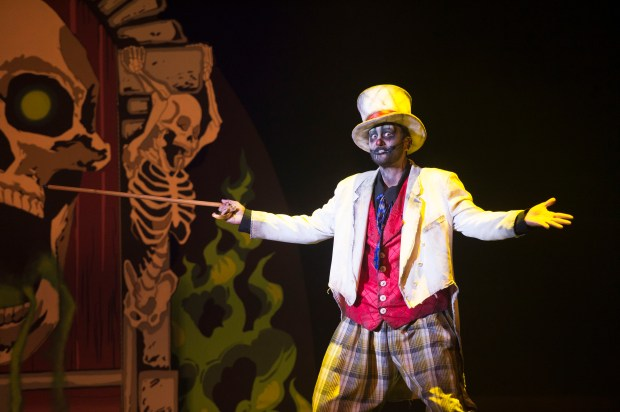 A character from Dark Ride: Castle of Chaos dances across the stage during announcements of new attractions for Knott's Scary Farm at Knott's Berry Farm in Buena Park on Thursday, August 31, 2017. (Photo by Matt Masin, Orange County Register, SCNG)
