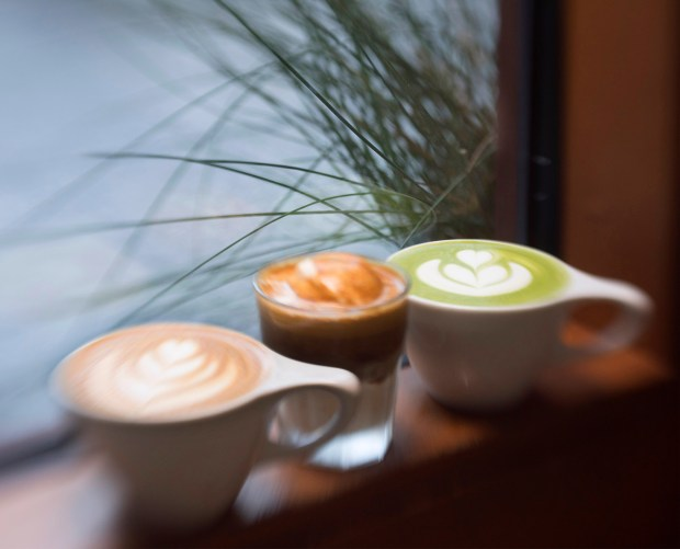 Vanilla latte, from left, affogato and matcha latte are served in a calming environment at Kit Coffee. The Newport Beach boutique coffee house offers a variety of coffee drinks, pastries, toast and chocolates on Thurs. Aug 24. (Photo by Cindy Yamanaka, Orange County Register/SCNG)