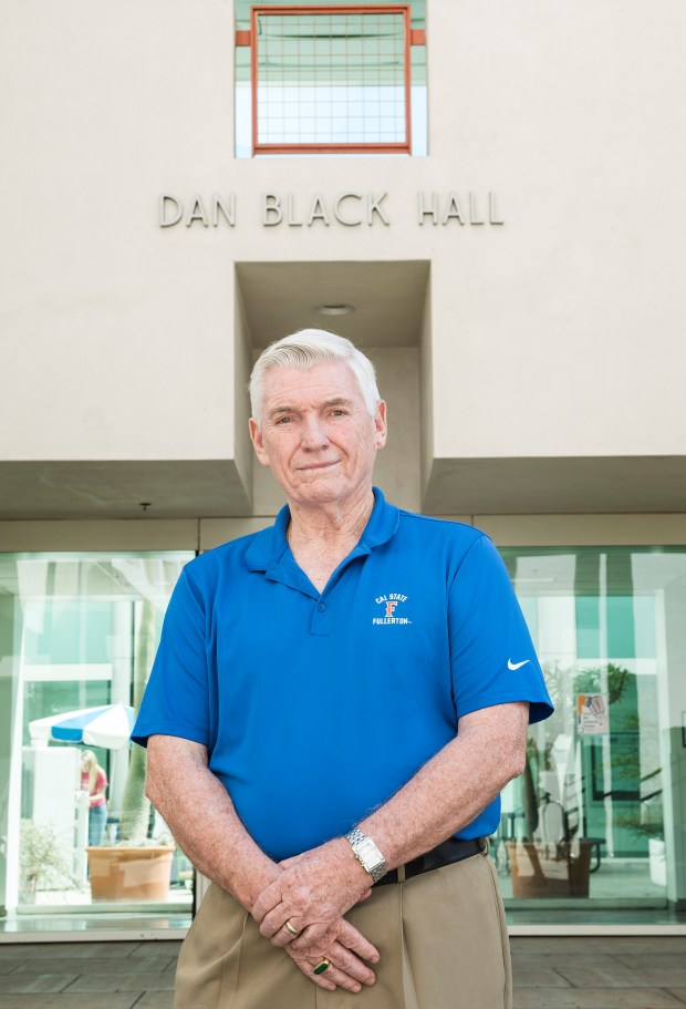 Dan Black, one of the biggest donors to Cal State Fullerton stands in front of the campus science building named after him on Aug. 16. (Photo by Nick Agro, Orange County Register/SCNG)