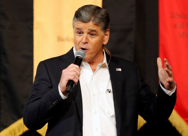 In this March 18, 2016 file photo, Fox News Channel's Sean Hannity speaks during a campaign rally for Republican presidential candidate, Sen. Ted Cruz, R-Texas, in Phoenix. (AP Photo/Rick Scuteri, File)