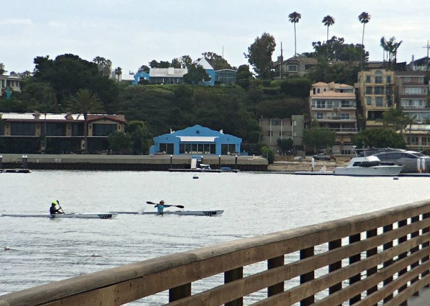 """Five years after the sale of the pool house, it remains a landmark along Newport Harbor. The """"Big Blue House"""" sits above it, atop the bluff. The main house sold at the end of July for $35 million. (Photo by Marilyn Kalfus, Orange County Register/SCNG)"""