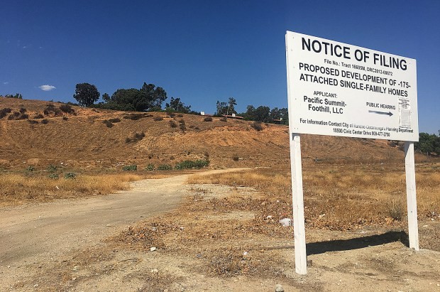 Pacific Summit-Foothill Inc. Is proposing to build 175-attached single family homes on 24 acres. (Liset Marquez, staff, Inland Valley Daily Bulletin/SCNG)